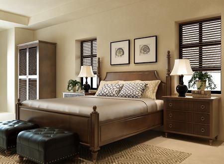 luxury hotel room: 3d rendering  Modern Bedroom