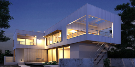 Modern House  3D-Rendering Stock Photo
