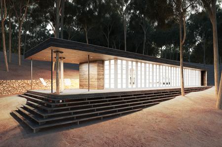 Modernes Haus im Wald / 3D-Rendering Standard-Bild - 37001915