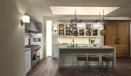 cucina moderna: Cucina moderna  rendering 3D Archivio Fotografico
