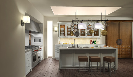 home lighting: Modern Kitchen  3D-Rendering Stock Photo