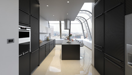 Modern kitchen with beautiful view over the city / 3D-Rendering