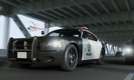 traffic police: The Chase  3D-Rendering Stock Photo