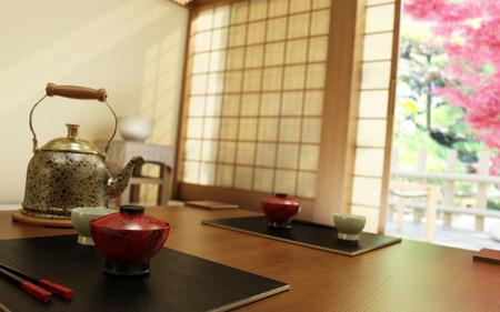 Japanese Teatime  3D-Rendering 版權商用圖片