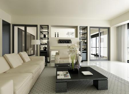 penthouse: Modern Apartment Interior  3D-Rendering