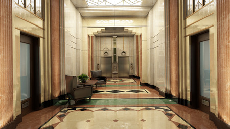 hotel hall: Art Deco Lobby  3D-Rendering