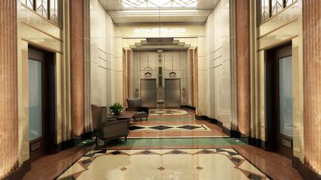 art door: Art Deco Lobby  3D-Rendering