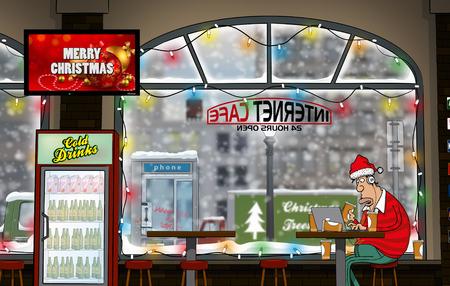 Ein lustiger Tag im Internet Cafe (Winterzeit) Standard-Bild - 37058764