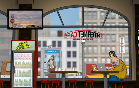 internet cafe: A funny day at Internet Cafe (Daytime)