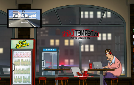 internet cafe: A funny day at Internet Cafe (Nighttime) Stock Photo