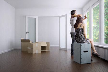 空のアパート、カップルおよびパッキング ボックス3 D レンダリング 写真素材