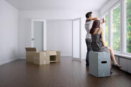 Lege appartement met een paar en verpakkingsdozen  3D rendering