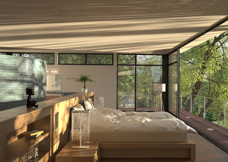jovial: Modern Bedroom Interior  3D rendering Stock Photo