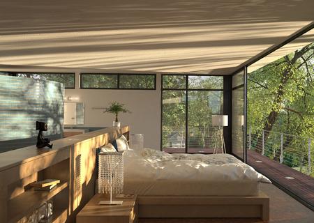 Moderne Schlafzimmer Interior 3D-Rendering Standard-Bild - 45852287