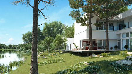 home furnishings: A modern house at a quiet lake