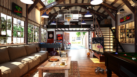 billiards room: The mens playroom Stock Photo