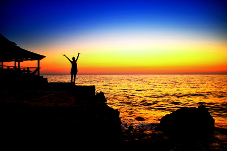celebration of life Happy Winning Success Woman at Sunset or Sunrise Standing Elated with Arms Raised up Above Her Head, hello life, celebration of life