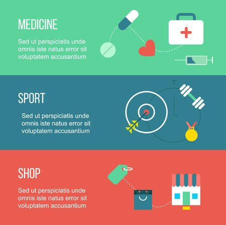 health care: Web set of  banners, including medicine, sport and shopping, with drug, shop, and gym