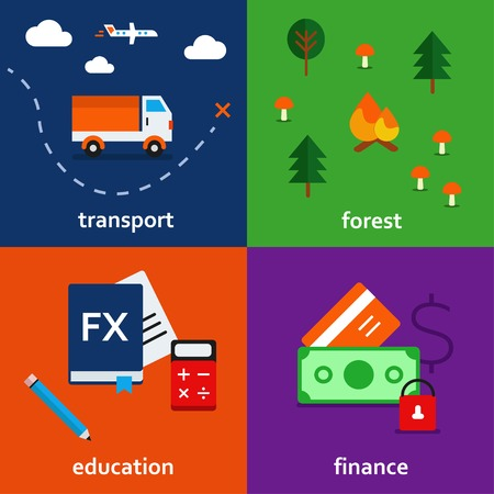 infographic icon set of transport. forest. education and finance theme Vector