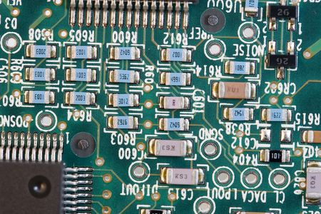 soldered: PCB board with small electronic devices