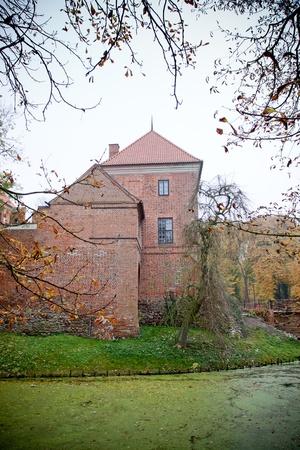 gothic castle: Antiguo castillo g�tico en Opor�w cerca de Kutno, Polonia, oto�o vista
