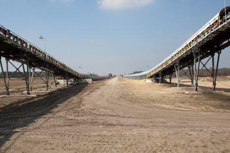 browncoal: Conveyor belts in coal mining in Belchatow Poland