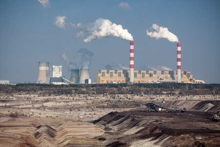 powerhouse: Surface coal mining and power staion in Belchatow, Poland