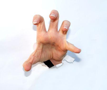 garra: garra mano que sale de papel