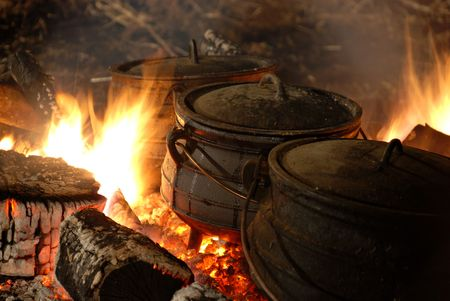 boiling pot: cauldron on the fire Stock Photo