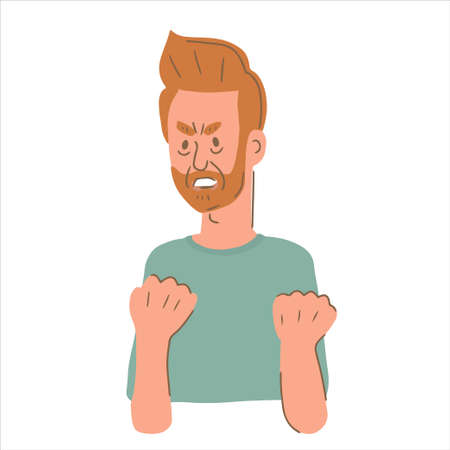 Portrait of angry male character clenching his fists. Man struggling with emotion control. Flat vector illustration Vecteurs