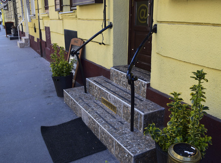stair: Stair railings and lanterns plants