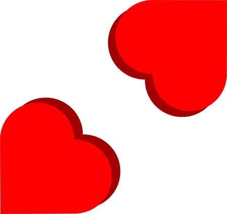Red hearts with shadow for Valentine's Day. Red love symbols.