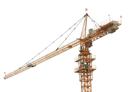 Building crane and the white background.