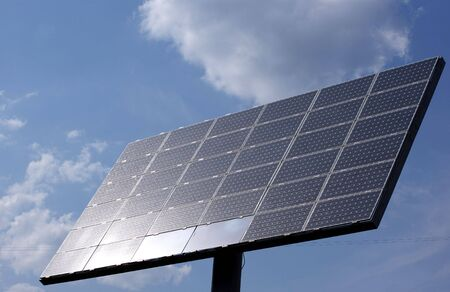 Solar panel on the sky background.