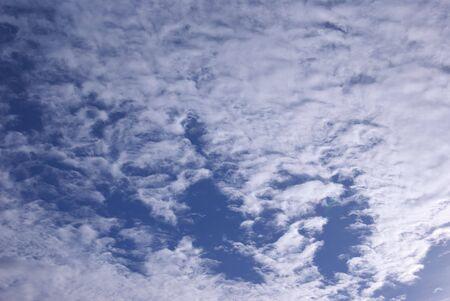 wispy: Wispy blue sky and clouds, summer day. Stock Photo