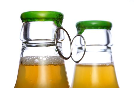 Pair bear or juce bottles lid with open ring Stock Photo - 3792774