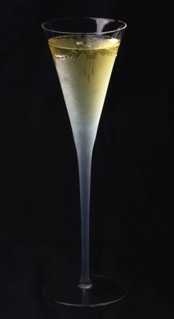 Wineglass with champange on black background, isolated. Stock Photo