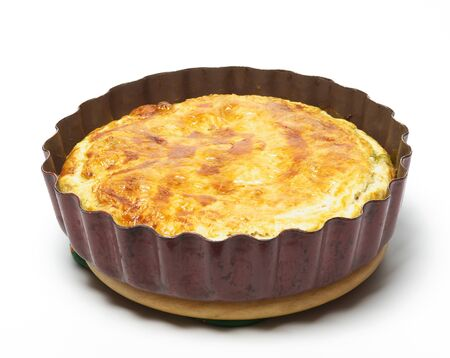 Spinach and cheese pie on the white background