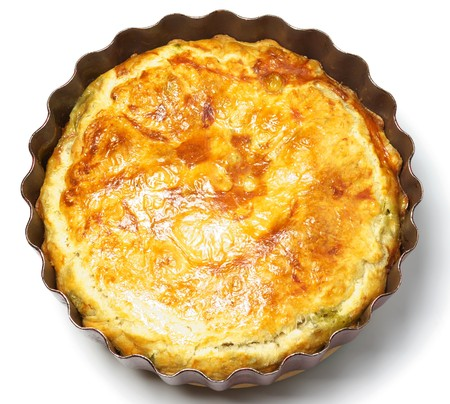 Spinach and cheese pie on the white background photo