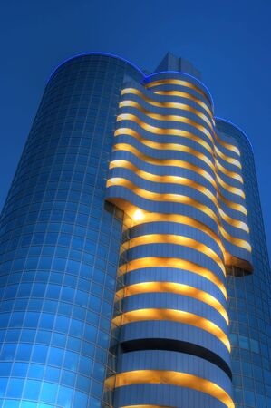 Modern building in the night with lights. Stok Fotoğraf