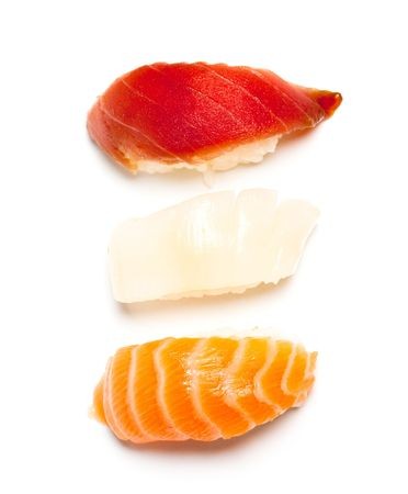 Three nigiri sushi on the white background Stock Photo