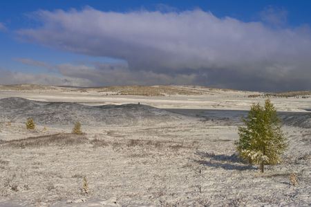 tundra: Cloudy winter high-mountain tundra landscape