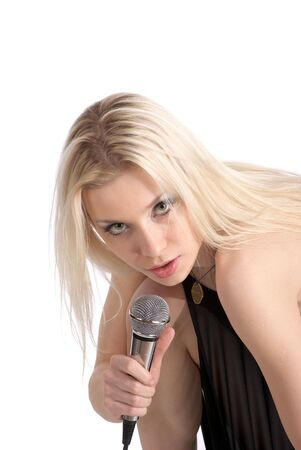 Portrait of cute singer female isolated over white photo