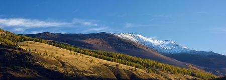 Panoramic view of snowy mountain peaks and autumnal forest valley photo