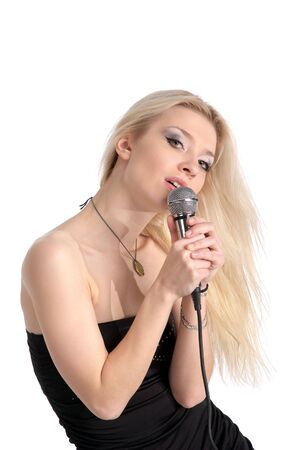kareoke: Portrait of cute young female isolated on the white background
