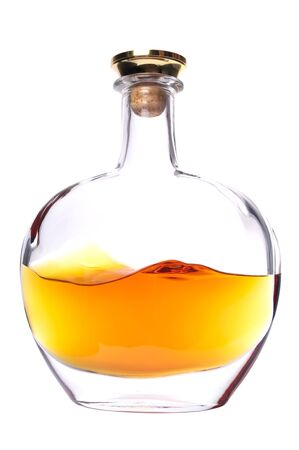 Cognac bottle without labels on the white background. Stock Photo - 6008021