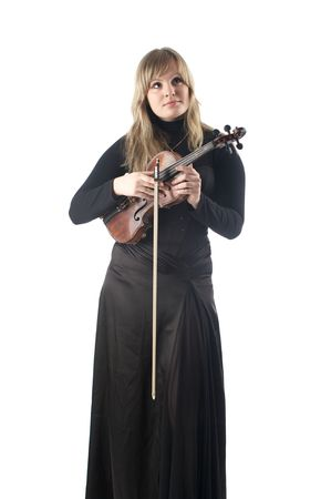 Classic music female violinist in black concert gown isolated over white photo