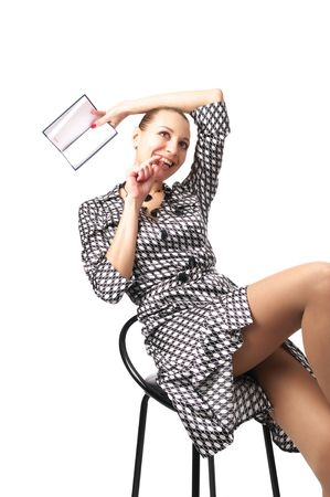 Sensual businesswoman remember something, isolated on the white background photo