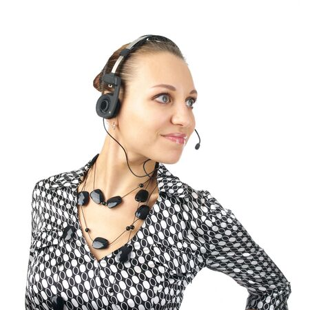 Beautiful businesswoman with headset isolated on the white background. photo