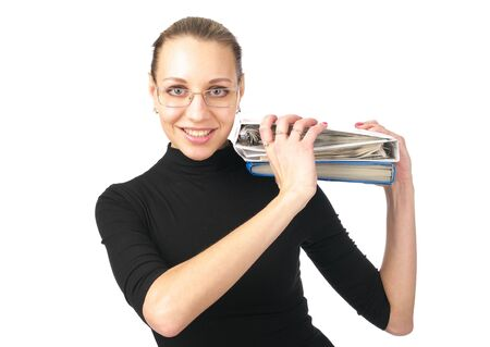 Cheerful young woman with folders on the shoulder over white background photo